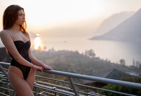 women, Marco Squassina, sunset, sea, body lingerie, brunette, women outdoor ...