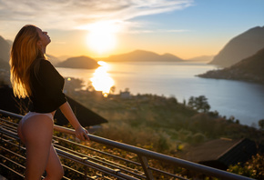women, Marco Squassina, ass, sunset, sea, balcony, blonde, closed eyes, whi ...