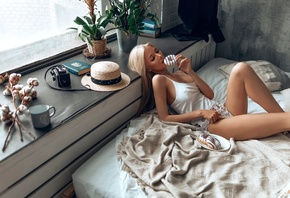 women, blonde, donuts, hat, in bed, window, plants, nipple through clothing, camera, books, pillow, brunette