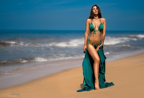 women, green bikini, sea, sand, tanned, women outdoors, belly, green dress, ...