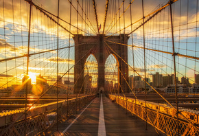 New York, Brooklyn Bridge, Manhattan, sunrise, morning