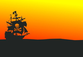Pirate Ship, Minimal Design, Orange