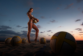 : model, sports, bikini, two piece swimsuit, volleyball, beach, brunette, barefoot, women outdoors, ponytail