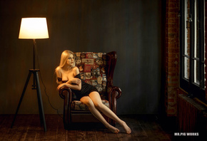 women, Selena Werner, blonde, lamp, sitting, bare shoulders, bricks, window ...