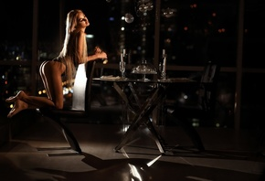 women, kneeling, brunette, blonde, ass, chair, table, long hair, candles, drinking glass, skinny, black lingerie, bokeh