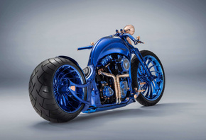 Harley Davidson, luxury, blue, chopper