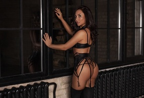 women, tanned, black lingerie, ass, window, reflection, garter belt, knee-highs, black stockings