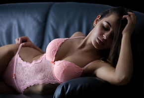women, brunette, ribs, pink lingerie, couch, pierced nose, pink lipstick, c ...