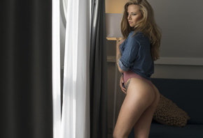women, blonde, denim shirt, ass, tattoo, brunette, monokinis, looking away, window, blue shirt
