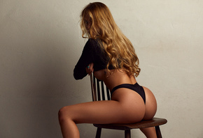 women, blonde, ass, brunette, chair, underboob, boobs, tan lines, wall, hair in face, long hair, crop top, black panties