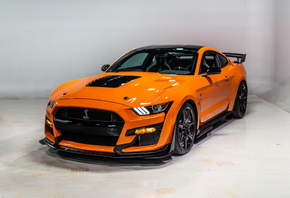 Ford, Mustang, Shelby, GT500, 2020, orange, supercar