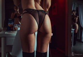 women, mirror, reflection, ass, black panties, black lingerie, back, brunette, knee-high boots, short hair