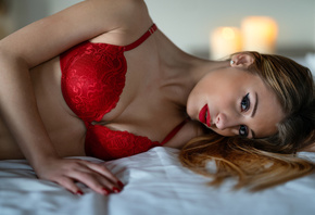 women, Marco Squassina, red bra, eyeliner, red lingerie, blonde, red nails, in bed, candles, red lipstick