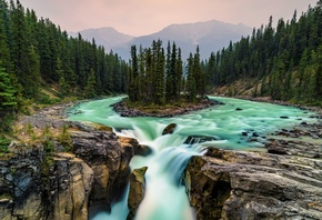 водопад, Jasper, National Park, Canada, waterfall