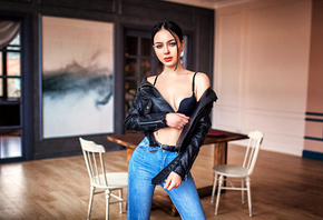 women, skinny, black bras, jeans, chair, table, belt, leather jackets
