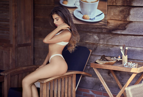 women, Chiara Bianchino, brunette, ass, closed eyes, wood, chair, white lingerie, sitting