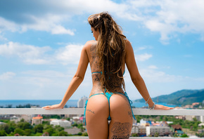 women, ass, blue bikinis, balcony, brunette, long hair, women outdoors, bac ...