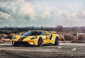 Yellow, Ford, GT, supercars, cars, parking