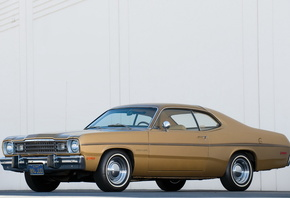 plymouth, gold, duster, 1973