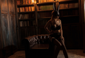 women, brunette, mask, black lingerie, sitting, books, necklace, blonde, ga ...