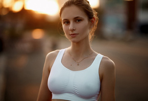women, sportswear, women outdoors, white tops, brunette, portrait, necklace, nipples through clothing, sunset