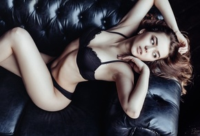 women, black lingerie, couch, armpits, belly, looking away