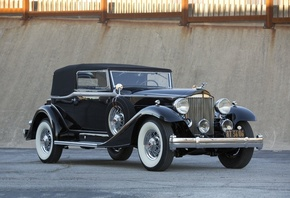 Packard, Super Eight Victoria, Convertible, Retro, Cars, Black