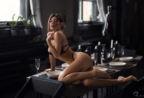 women, black lingerie, brunette, table, chair, ass, window, candles, drinking glass, plates, belly