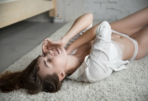 women, on the floor, white shirt, belly, closed eyes, pink nails, white lingerie, lying on back