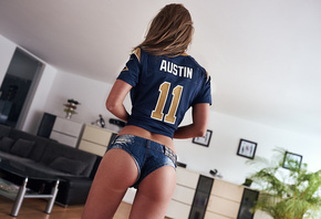 women, ass, jean shorts, back, brunette, sports jerseys, plants, couch