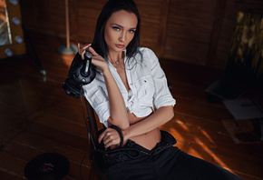 women, Sergey Fat, red nails, jeans, sitting, white shirt, headphones, port ...