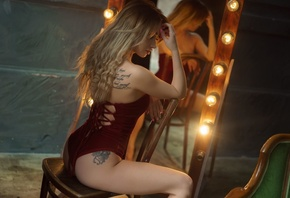 women, blonde, ass, pink nails, chair, sitting, mirror, reflection, light bulb, tattoo