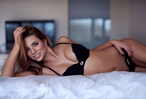 women, smiling, blue eyes, belly, pierced navel, in bed, blue lingerie, eyeliner, painted nails