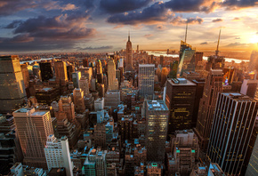 Manhattan, New York City, закат, город