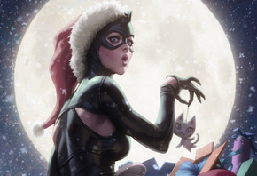 Cute, Catwoman, луна