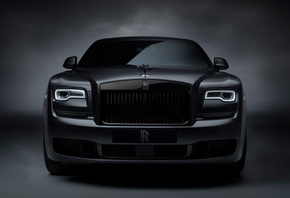 Rolls Royce, Ghost, Black, Badge, вид спереди