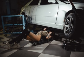 women, Artem SolovЬev, Garage, knee-highs, sneakers, women with cars, ass, tattoo, bodysuit, sportswear, black stockings