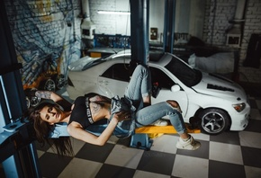 women, Artem SolovЬev, Garage, sneakers, women with cars, overalls, torn clothes, ribs, Black top