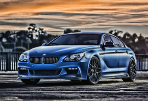 BMW, 6-Series, Gran Coupe, F13, tuning, sunset, BMW 6, HDR
