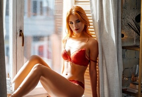 women, redhead, sitting, belly, red lipstick, window sill, light bulb, red lingerie