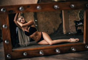 women, blonde, belly, closed eyes, long hair, black lingerie, mirror, refle ...