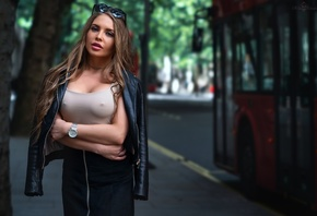 women, trees, buses, arms crossed, sunglasses, nipples through clothing, watch, leather jackets, pink lipstick, portrait