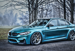 BMW, M3, HDR, F80, tuning, autumn, blue, supercars