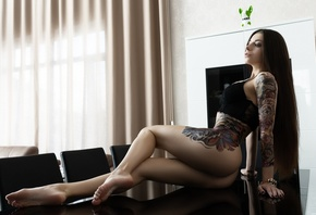 women, table, chair, tattoo, ass, long hair, black bras, curtains, painted  ...
