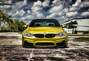 BMW, M4, вид спереди, HDR, tuning, F82, cars, bmw f82, Golden