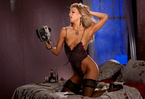 mia presley, blonde, model, sexy, hot, naked, tanned, stockings, bodysuits, heels, camera, bed, money