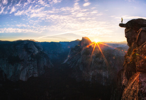 Standing At Glacier, Point Sunrise In, Yosemite, National Park