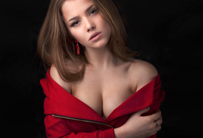 alexandra danilova, model, pretty, babe, russian, sensual lips, cleavage