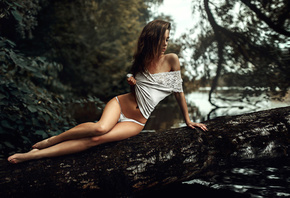 ksenia kokoreva, model, pretty, babe, brunette, russian, bodysuit, white panties, panties, trunk, outdoors, tanned, nature