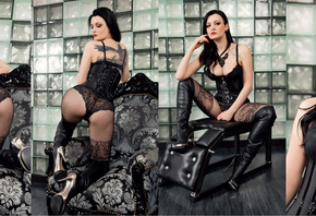 women, Alissa Noir, Gothic, black lingerie, collage, corset